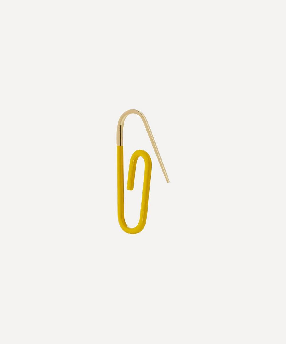 Hillier Bartley - Gold Plated Vermeil Silver The Enamel Paperclip Earring