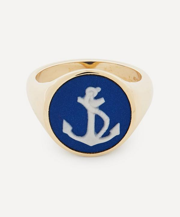 Ferian - 9ct Gold Wedgwood Anchor Round Signet Ring