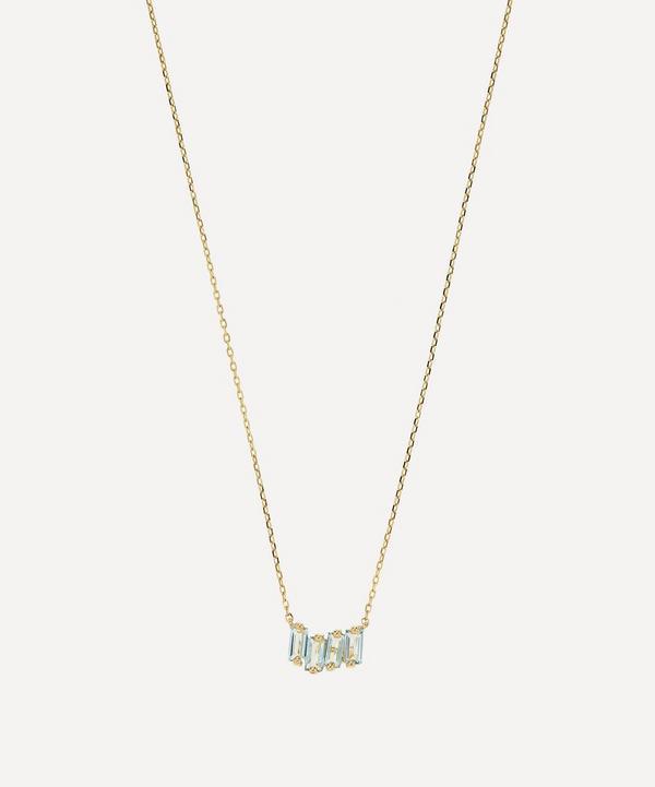 Suzanne Kalan - 14ct Gold Blue Topaz Small Zig-Zag Pendant Necklace