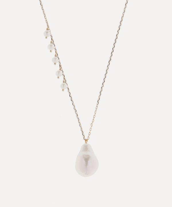 Mizuki - 14ct Gold Pearl Fringe and Baroque Pearl Drop Pendant Necklace