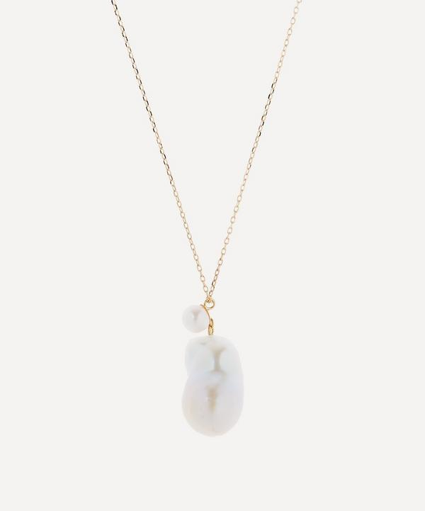 Mizuki - 14ct Gold Double Pearl Drop Pendant Necklace