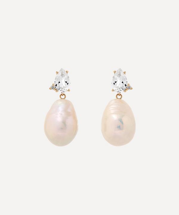 Mizuki - 14ct Gold White Topaz with Diamond and Pearl Drop Earrings