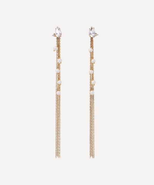 Mizuki - 14ct Gold White Topaz and Diamond Long Pearl Fringe Drop Earrings