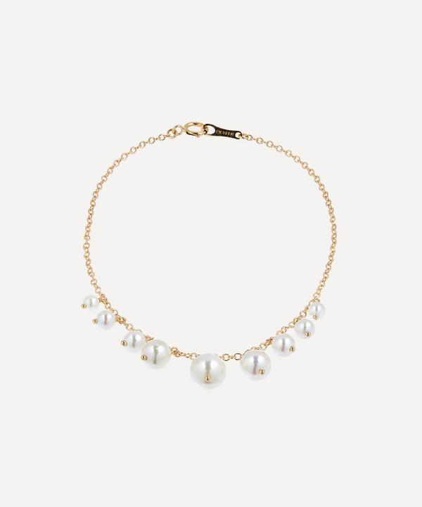 Mizuki - 14ct Gold Graduated Pearl Fringe Bracelet