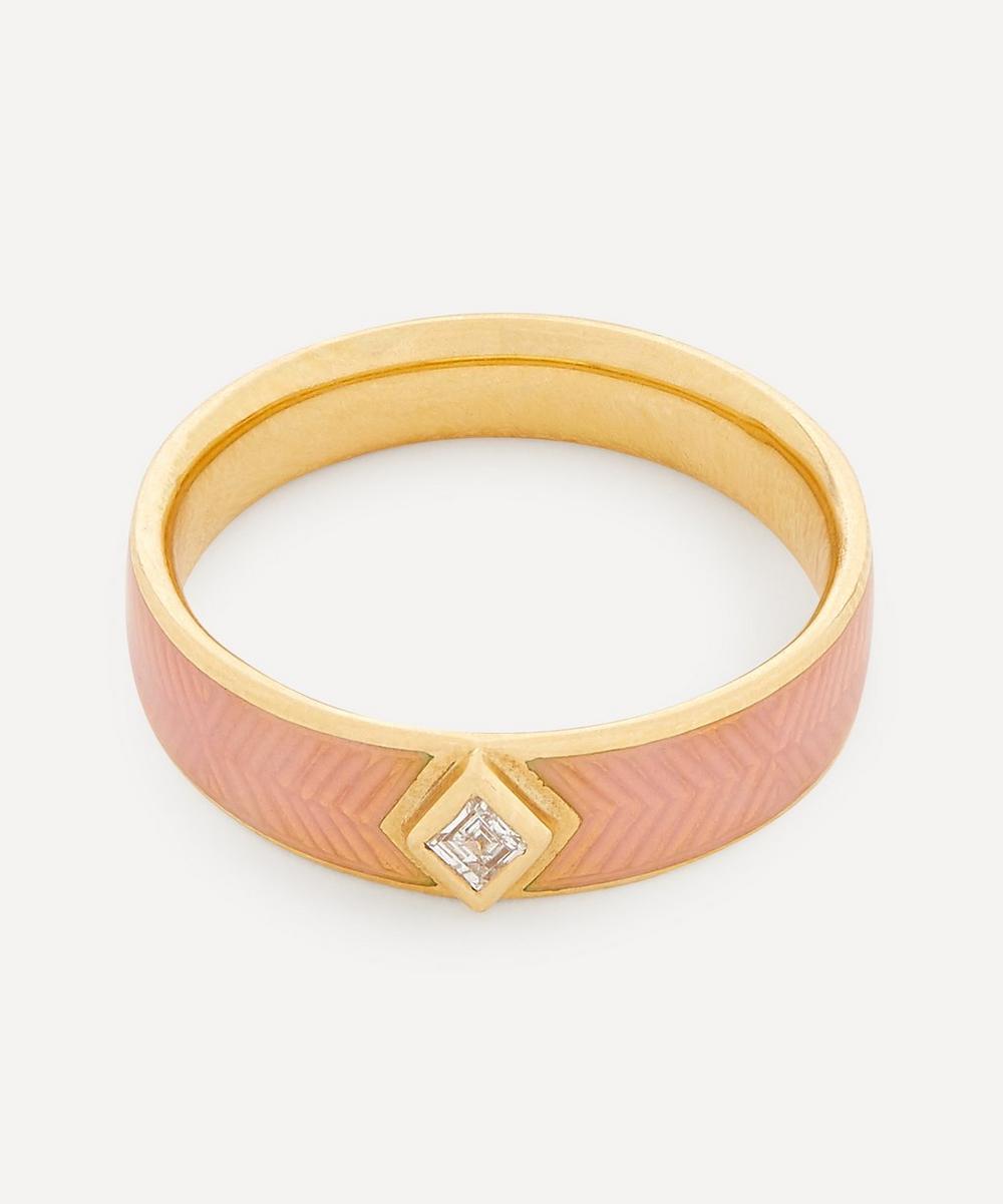 Brooke Gregson - 18ct Gold Kite Diamond Engraved Enamel Ring