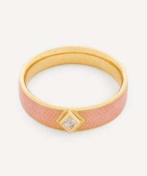18ct Gold Kite Diamond Engraved Enamel Ring