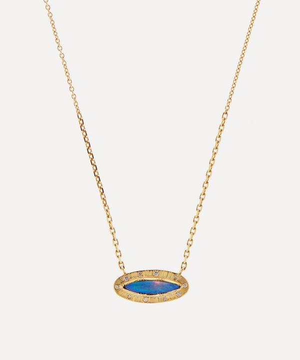 Brooke Gregson - 18ct Gold Engraved Starlight Boulder Opal and Diamond Pendant Necklace