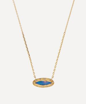 18ct Gold Engraved Starlight Boulder Opal and Diamond Pendant Necklace