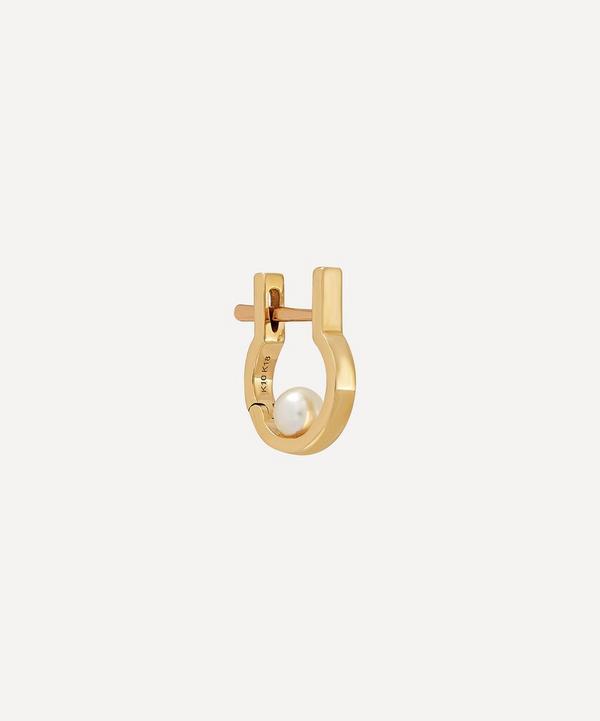 Hirotaka - 10ct Gold Indústria Mini Pearl Hoop Earring