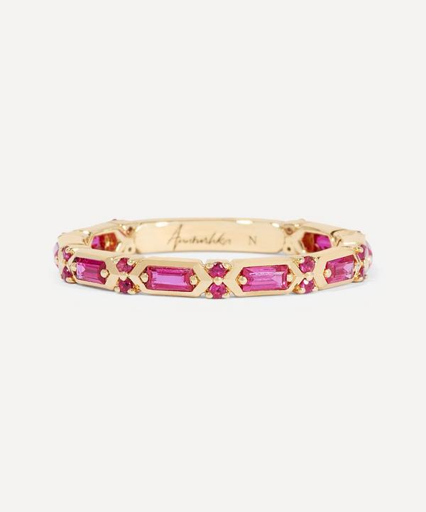 Annoushka - 18ct Gold Pink Sapphire Baguette Ring