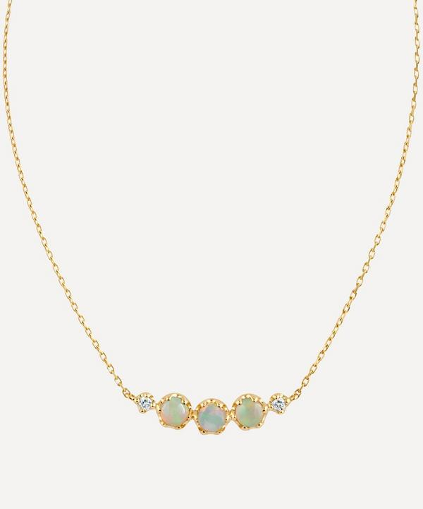 Dinny Hall - 14ct Gold Opal and Diamond Scoop Pendant Necklace
