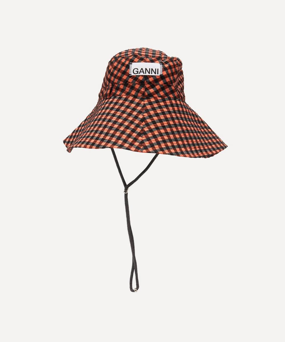 Ganni Hats CHECK PRINT SEERSUCKER BUCKET HAT