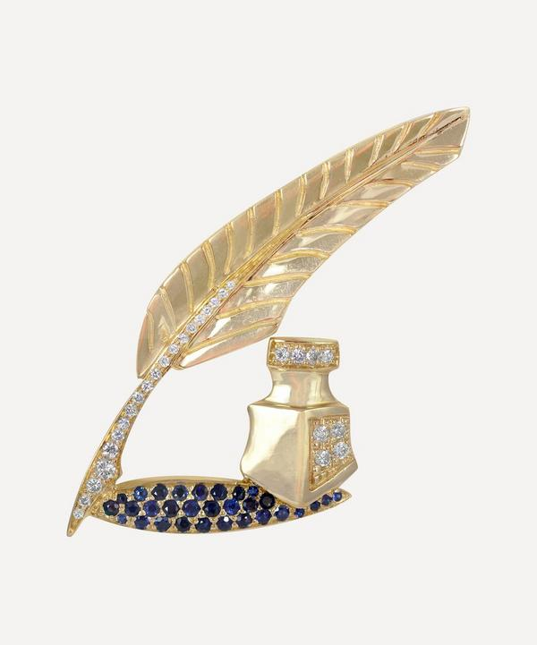 Kojis - 14ct Gold Diamond and Sapphire Quill Brooch