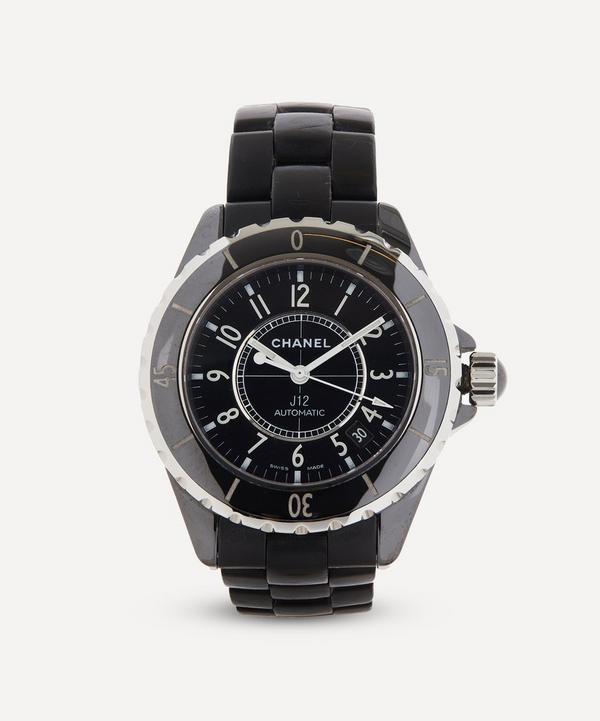 Designer Vintage - 1990s Chanel J12 Black Ceramic and White Metal Watch