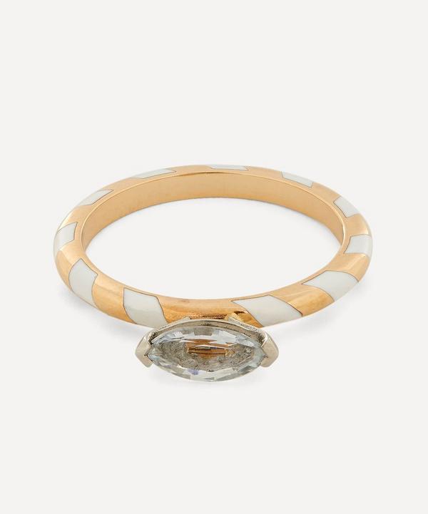 Alice Cicolini - 14ct Gold Memphis White Sapphire Single Stripe Candy Ring