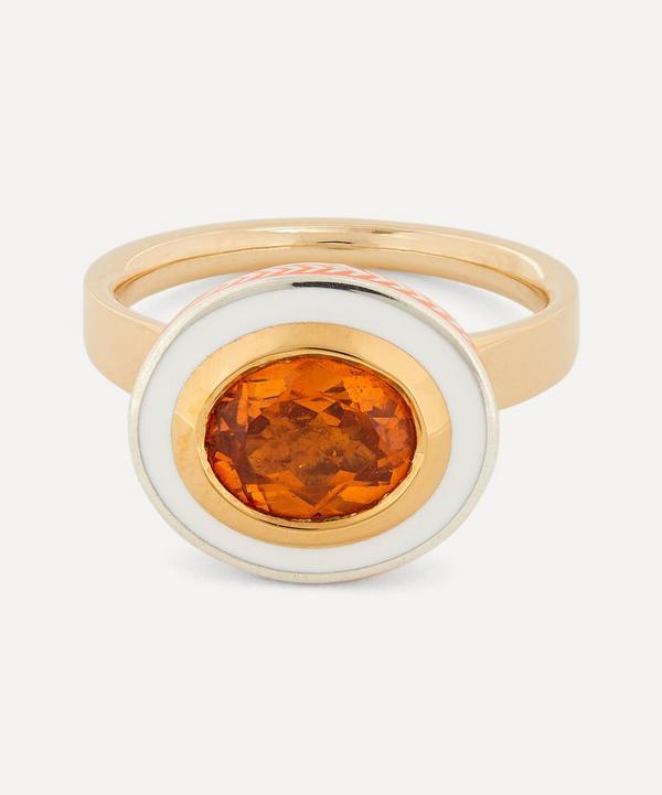 Alice Cicolini - 14ct Gold Silver Tile Oval Hessonite Garnet Ring