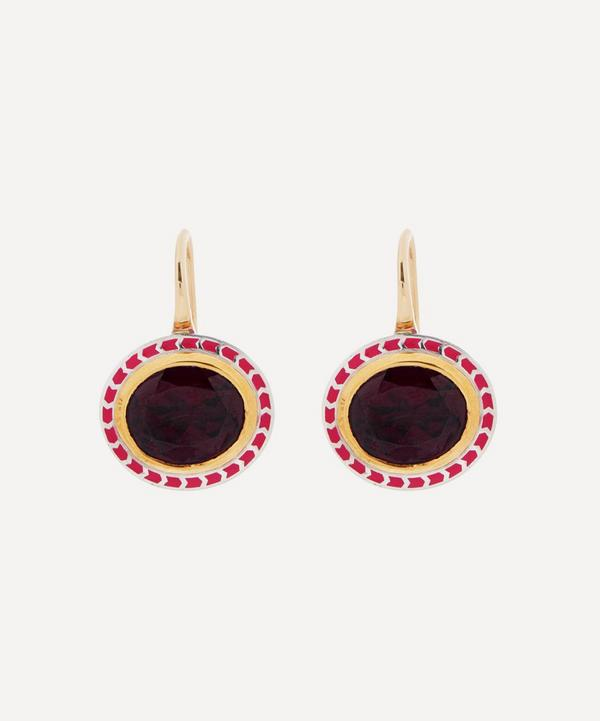Alice Cicolini - 14ct Gold Silver Tile Oval Rhodolite Garnet Drop Earrings
