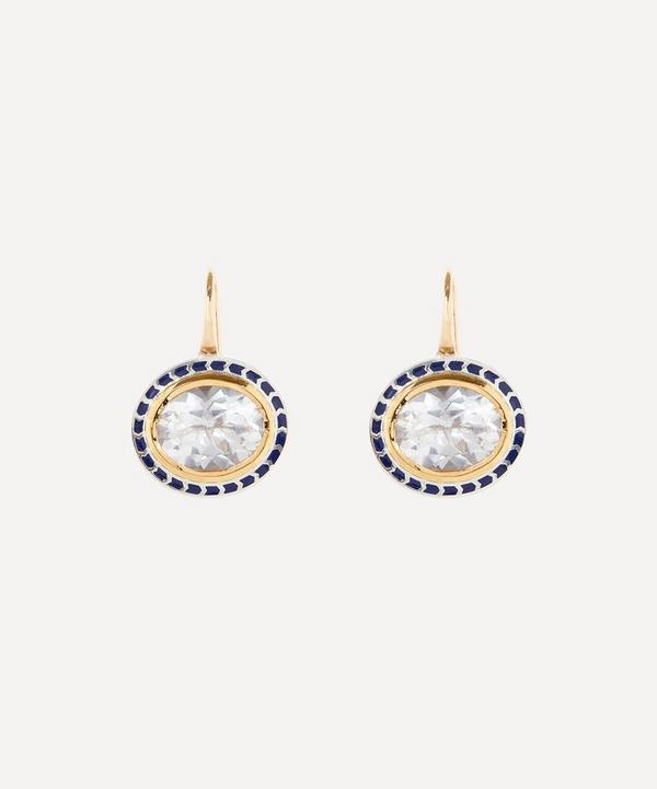 Alice Cicolini - 14ct Gold Silver Tile Oval Goshenite Drop Earrings