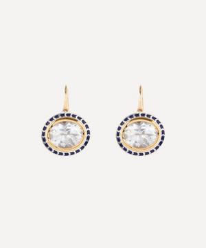 14ct Gold Silver Tile Oval Goshenite Drop Earrings