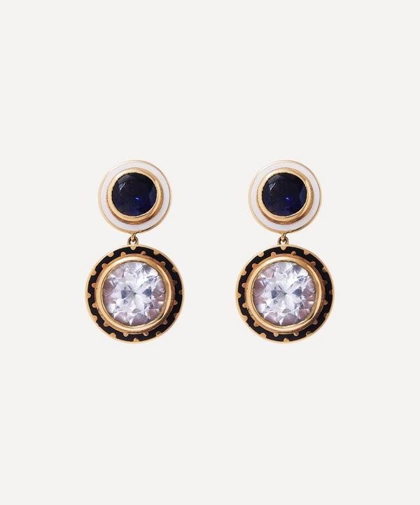 Alice Cicolini - 14ct Gold Candy Lacquer Iolite and White Topaz Samarkand Day Drop Earrings