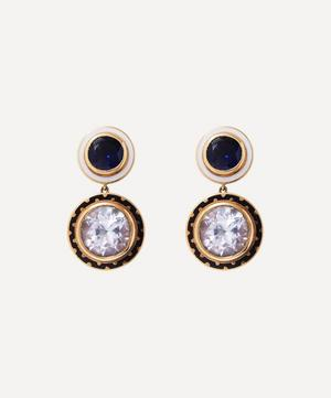 14ct Gold Candy Lacquer Iolite and White Topaz Samarkand Day Drop Earrings