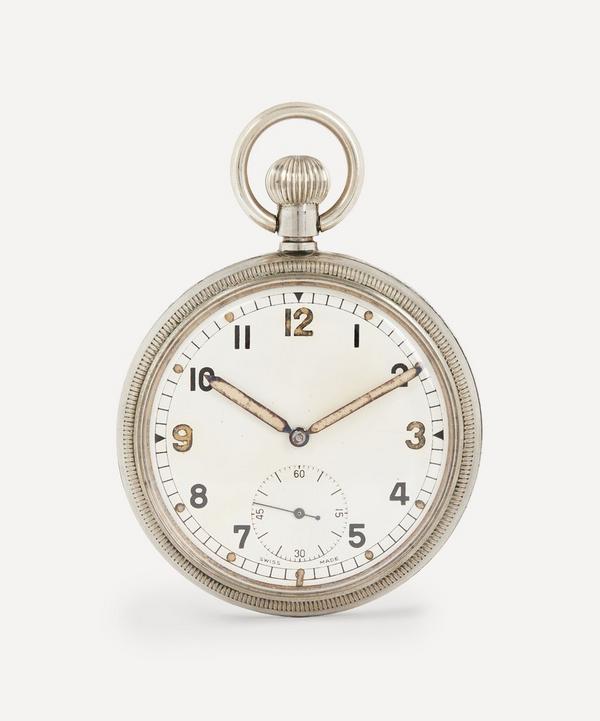 Designer Vintage - 1940s White Metal Military Pocket Watch
