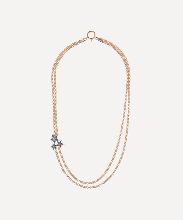 Selim Mouzannar - 18ct Rose Gold Istanbul Blue Sapphire and Diamond Star Cluster Necklace