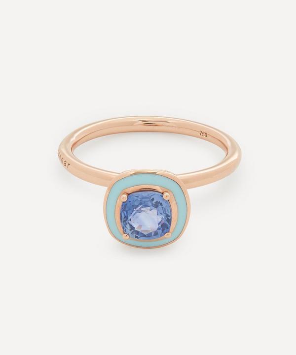 Selim Mouzannar - 18ct Rose Gold Mina Blue Sapphire Enamel Ring