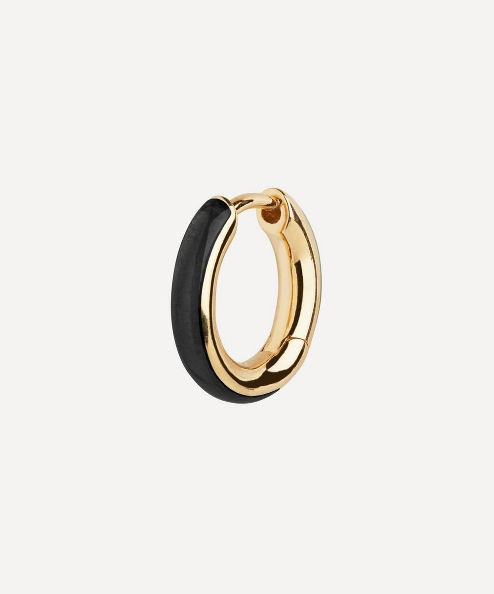 Maria Black - Gold-Plated Kate Ebony Enamel Single Huggie Hoop Earring