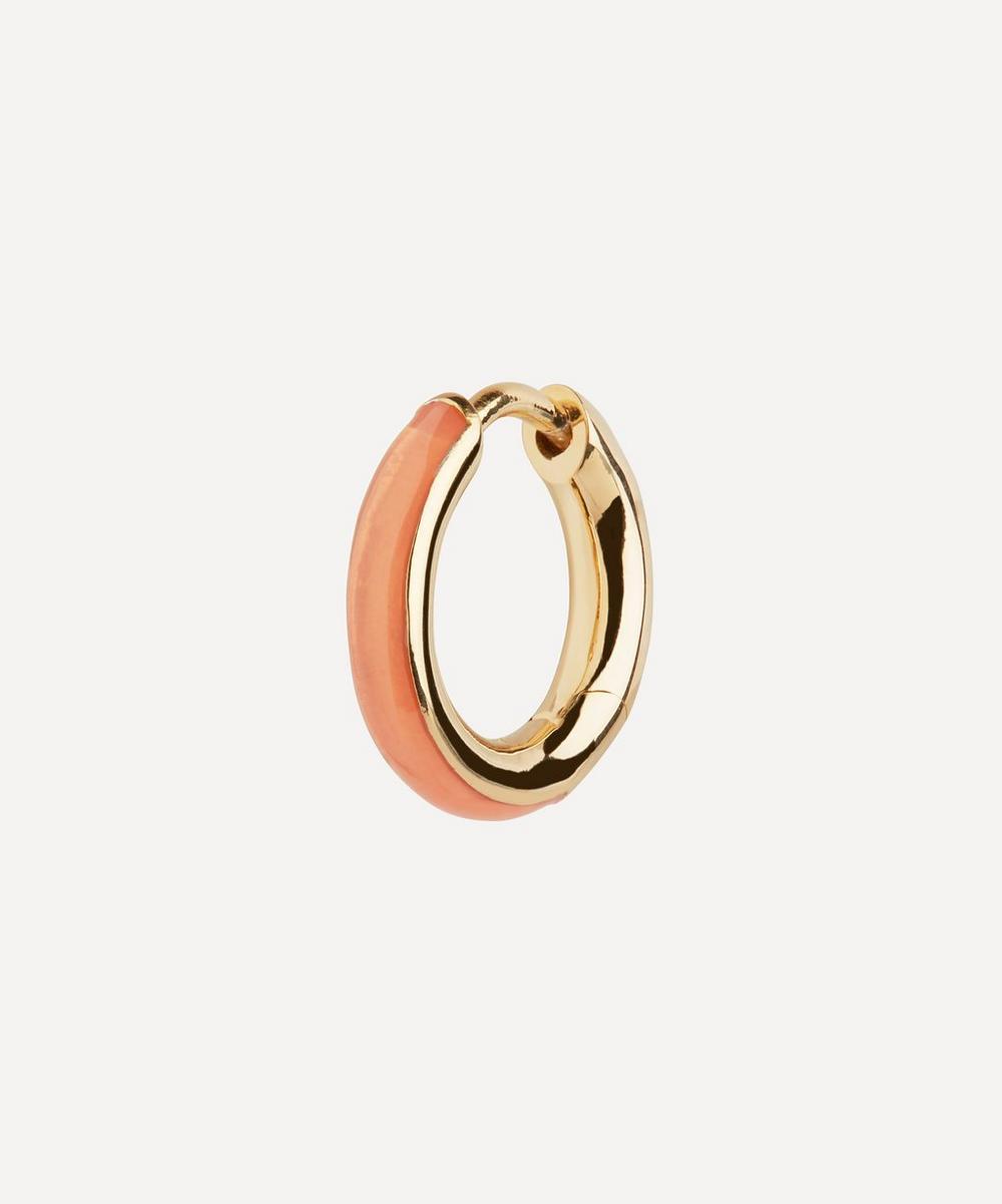 Maria Black - Gold-Plated Kate Coral Enamel Single Huggie Hoop Earring
