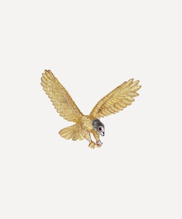 Kojis - 14ct Gold Ruby and Diamond Eagle Brooch