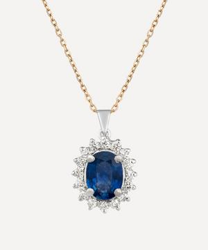 18ct Gold Sapphire and Diamond Cluster Pendant Necklace
