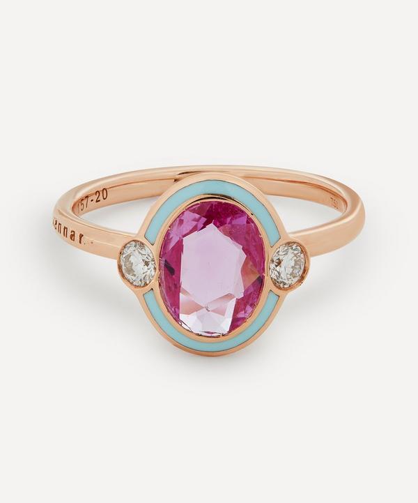 Selim Mouzannar - 18ct Rose Gold Gemma Pink Sapphire and Diamond Enamel Ring