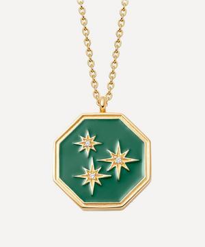 Gold Plated Vermeil Silver Celestial Green Enamel Constellation Locket Necklace