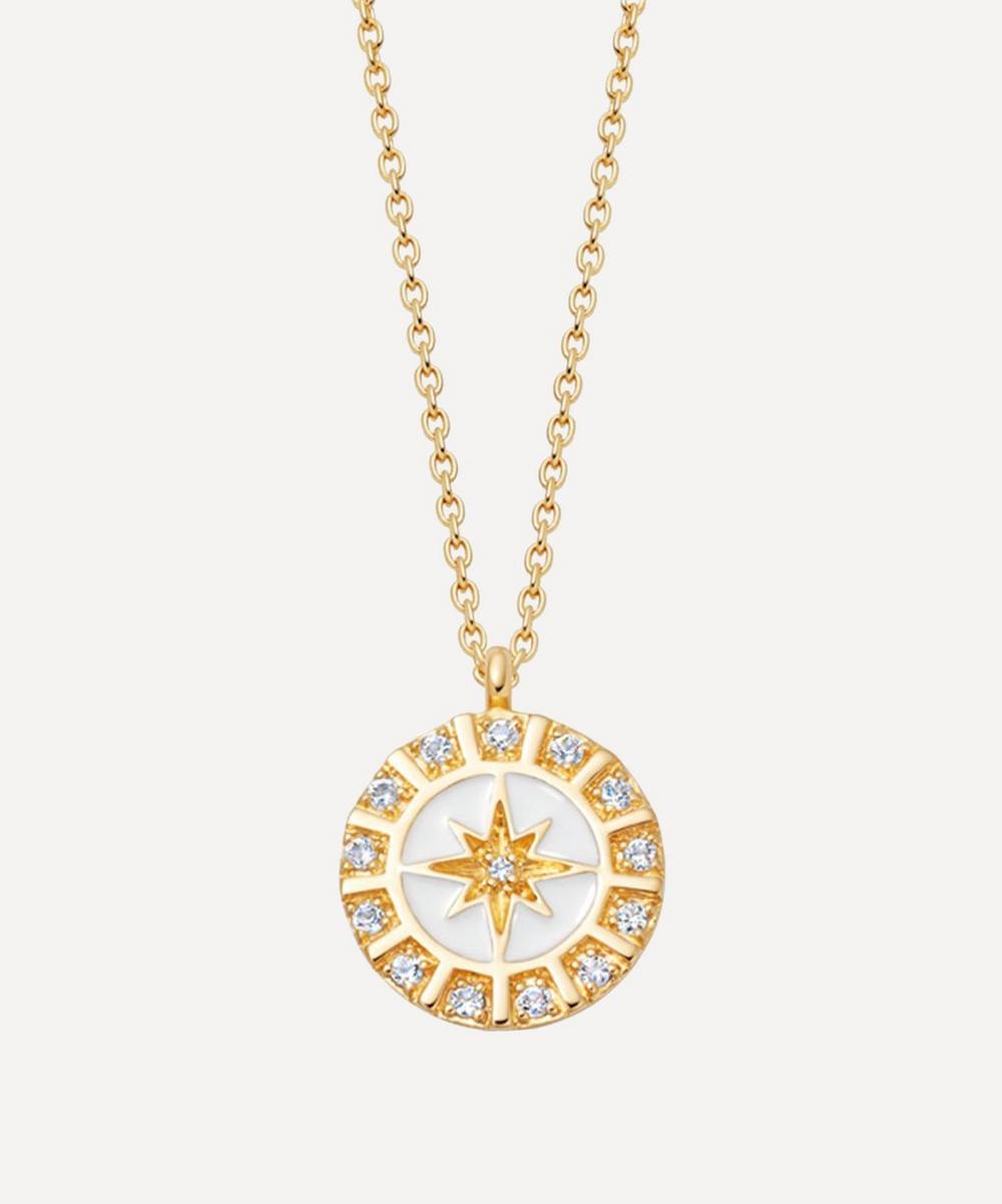 Astley Clarke - Gold Plated Vermeil Silver Celestial White Enamel Astra Pendant Necklace