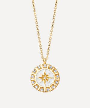 Gold Plated Vermeil Silver Celestial White Enamel Astra Pendant Necklace