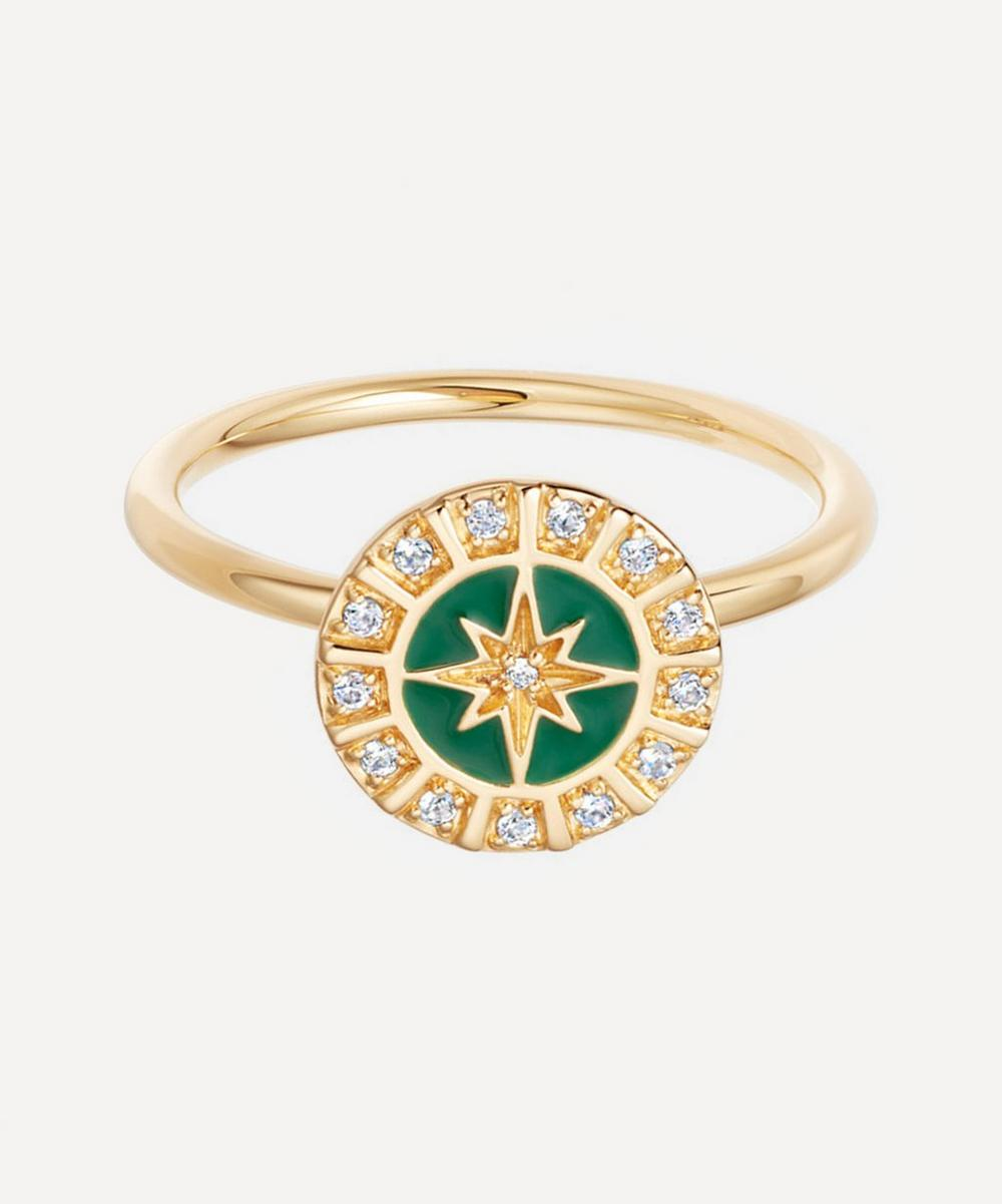 Astley Clarke - Gold Plated Vermeil Silver Celestial Green Enamel Astra Ring