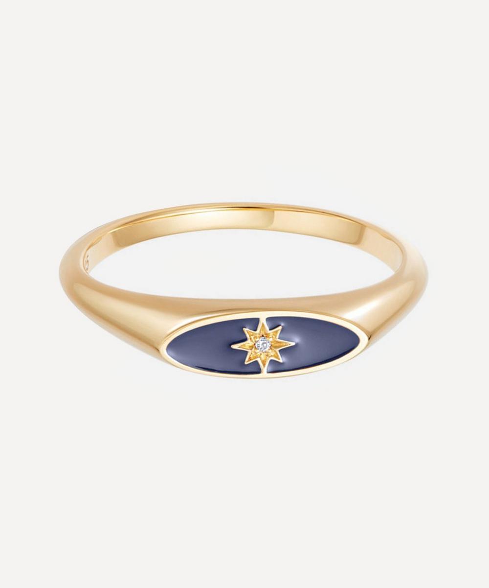 Astley Clarke - Gold Plated Vermeil Silver Celestial Blue Enamel Orbit Signet Ring
