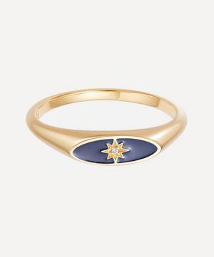 Gold Plated Vermeil Silver Celestial Blue Enamel Orbit Signet Ring