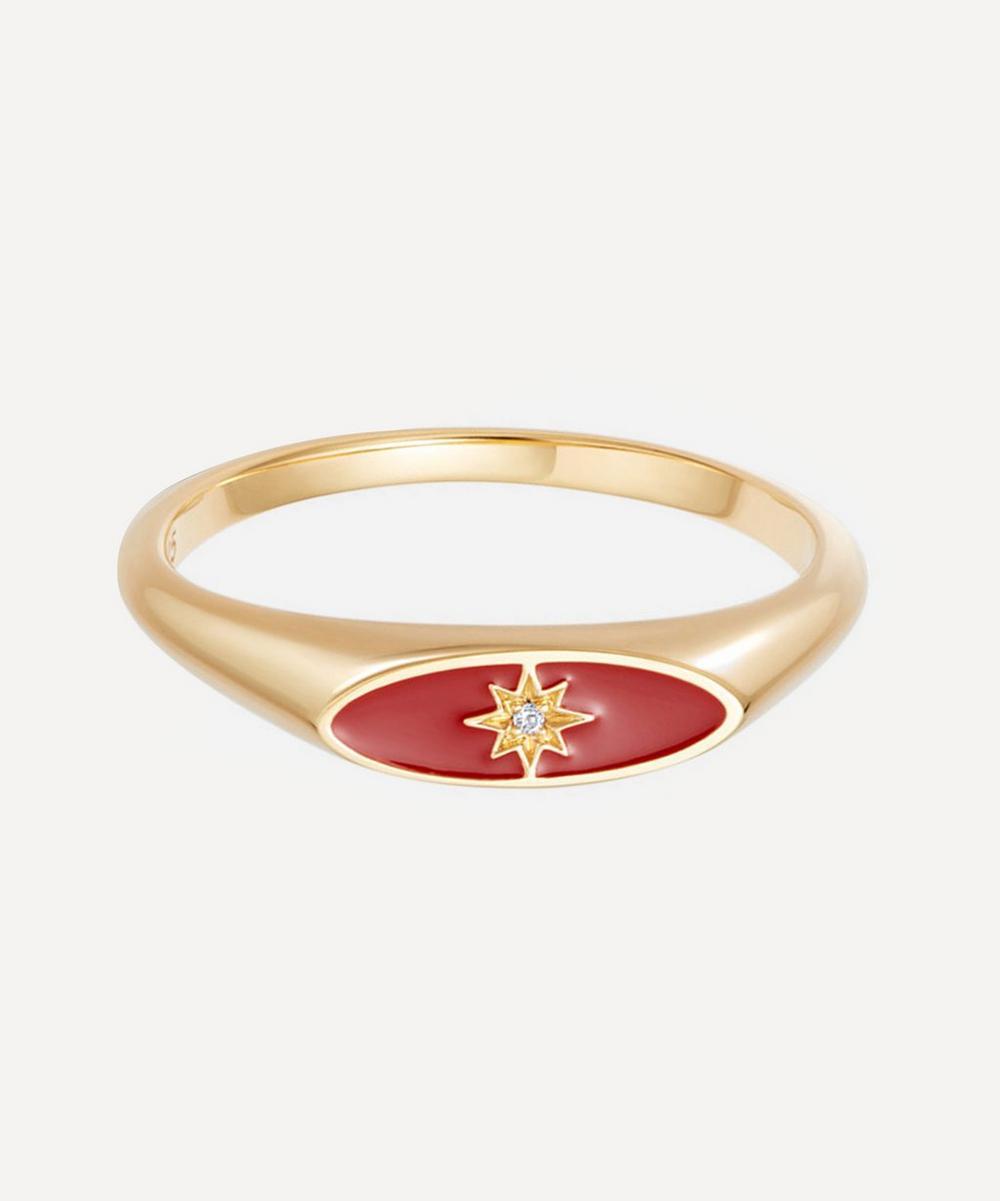 Astley Clarke - Gold Plated Vermeil Silver Celestial Red Enamel Orbit Signet Ring
