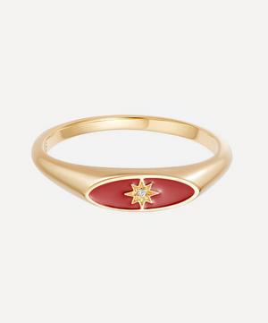 Gold Plated Vermeil Silver Celestial Red Enamel Orbit Signet Ring