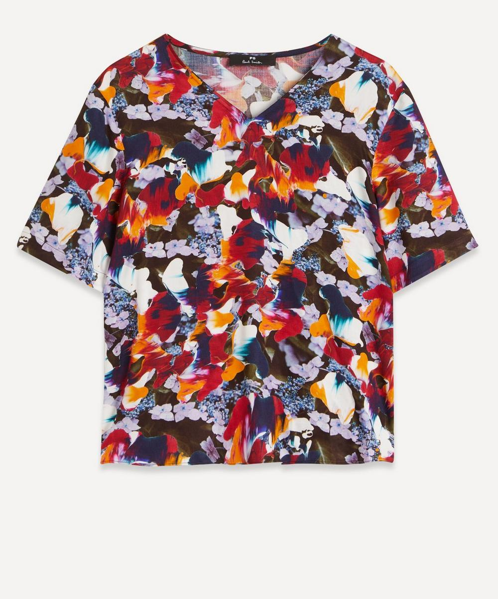 Ps By Paul Smith FLORAL V-NECK T-SHIRT