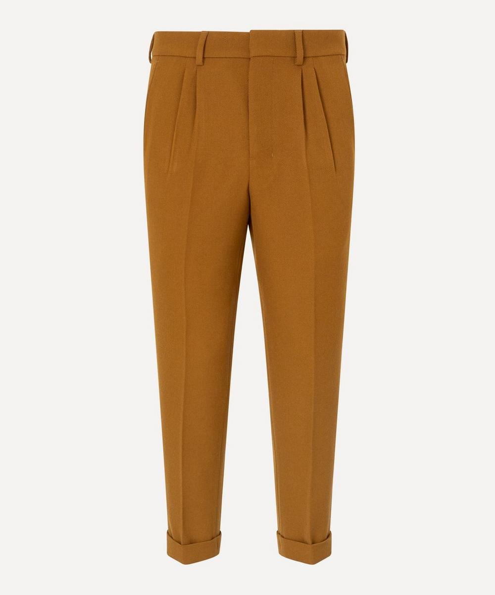 Ami Alexandre Mattiussi Wool Gabardine Pleated Trousers In Light Brown