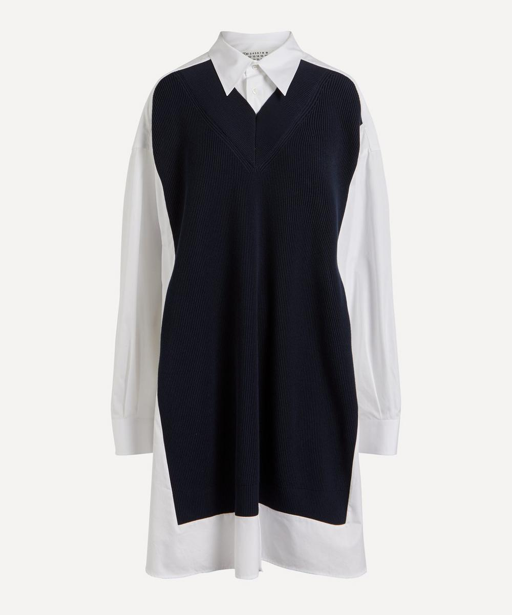 Maison Margiela - Knit Body Cotton-Poplin Shirt