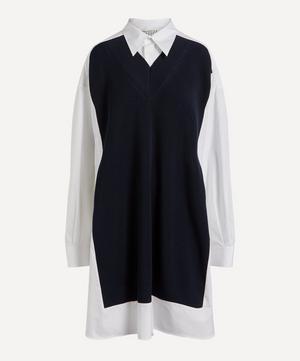 Knit Body Cotton-Poplin Shirt