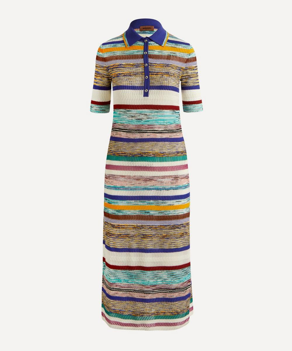 MISSONI STRIPED POLO-NECK DRESS