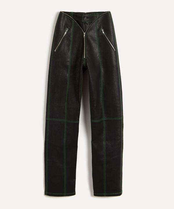 Y/PROJECT - Vegan Leather Zip Trousers