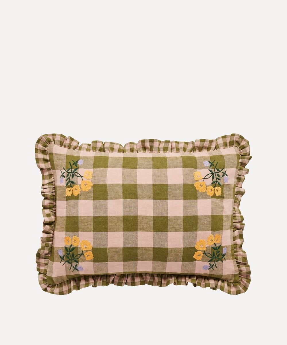 Projektityyny - Leinikki Embroidered Gingham Frill Cushion