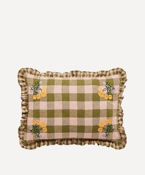 Leinikki Embroidered Gingham Frill Cushion