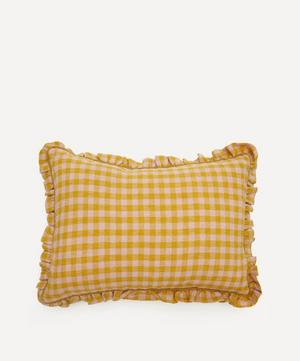 Wes Gingham Frill Linen Cushion